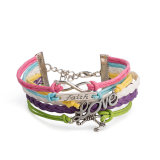 Mix Color Leather Girls Fashion Bracelet Promotion Gift Jewelry