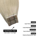 "Human Hair Tape Extensions European Natural Seamless Skin Weft 12"" Black Brown Blonde 100% Virgin Remy Hair 40PCS"