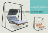 Steel Frame Rope Outdoor Swing Chair with Wood Seat