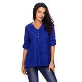 Ladies Fashion Blue Lace Roll Tab Sleeve Blouse