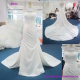 China Factory Strapless Pleasts Bodice and Backless A Line Wedding Dress