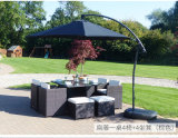 Dining Table and Chair Rattan and Glass Outdoor Furniture