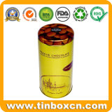 Food Grade Golden Varnish Round Can Metal Box Chocolate Tin with Plug Lid for Candy Tea Packaging
