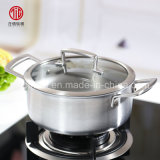 High Quality Titanium Stainless Steel Two Handle Milk Boiling Saucepan