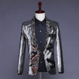Made to Measure Bespoke Custom Men Groomsmen Shinning Silver Sequins Dinner Wedding Suit