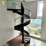 Modern Customized Spiral or Straight Shape Steel Staircase with Glass Railing and LED Illumination