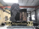 Haobo Stone Black Granite Tombstone with Carving Monument Headstones