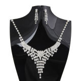 Fashion Fine Diamond Necklace Earrings Set Bride Costume Jewelry