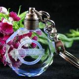 Promotional Gift Logo Inner Laser Engraved Crystal Keychain