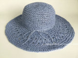 Hand Crocheted Pattern Paper Straw Women Hat