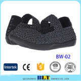 Women Cheap Elastic Upper Woven Shoes, Lady Woven Shoes