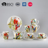 Chinese Style Flower and Bird Pottery and Porcelain Black Tea Suite