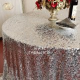 Round Silver Sequin Glitter Table Clothes for Wedding Events
