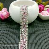 Clear Glass Rhinestones Trim Mesh Strass Chain Crystal Banding for Bridal Applique Wedding Dress Decoration (TS-047)