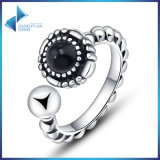 Vintage Black Round Open for Women 925 Sterling Silver Jewelry Rings
