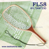Square Frame Landing Net Wooden Handle Landing Net
