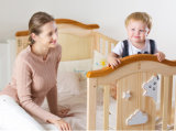 Attached to Parents Big Storage Size Newzealand Pine Wood Baby Crib/Bedside Cot Bed/Wooden Toddler Bed