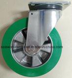 8 Inch Heavy Duty Euro Type Swivel Aluminium Core PU Caster (White Zinc plating)