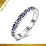 Top Quality Gemstone Colorful Crystal Sterling Silver Jewelry Ring with Purple Amethyst