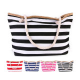 New Fashion Summer Beach Tote Shoulder Striped Canvas Bag for Women