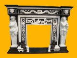 Black Marble Inlayed with White Marble Statuary Fireplace (FRP316)