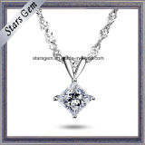 18k White Gold 1 Carat Square Moissanite Pendant Jewelry