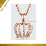 Custom Wholesale Women Jewellery Fashion 18K Gold Color Crown Necklace Pendant Jewelry with Diamond