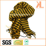 Acrylic Winter Warm Yellow Swallow Gird/Houndstooth Woven Scarf with Fringe