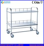 Hospital Furniture Stainless Steel Two-Layers Multi-Function Medical Appliance Cart/Trolley