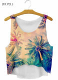 Guagngzhou Manufacturer Scoop Neck Tree Print Loose Crop Tank Top