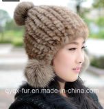 Factory Wholesale Women's Knitted Mink Fur Hat with Cheap Price