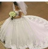Luxury Wedding Ball Gowns Puffy Cap Sleeves Bridal Dresses W201794