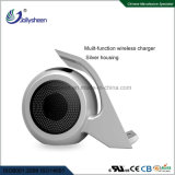 New Fashionable Intelligent Fast Dual Coils Wireless Charger with Bluetooth Speaker Silver Housing