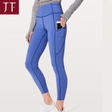 Fashion Yoga Supplier Ladies Elegant with Pocket Blue Gym Yoga Leggings