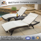 Well Furnir 2017 New Home Decor Wicker 3 Piece Chaise Lounge Set with Cushion T-077