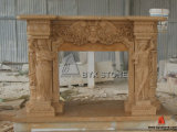 Chinese Beige Limestone Marble Fireplace Mantel for Home Furniture
