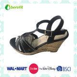 Wedge Sole and PU Upper, Ramie Sole Sandals
