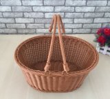New Style Portable Oval Inmitation Rattan Fruits and Vegetables Basket
