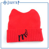 Fold Wholesale Customized Acrylic Winter Knitted Beanie Hat with Logo
