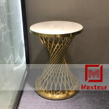 Foshan Shunde Furniture Gold Stainless Steel Base White Glass Coffee Table