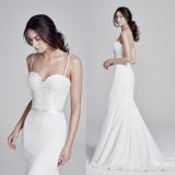 Spaghetti Formal Evening Gown Mermaid Lace Bridal Wedding Dress Ld75