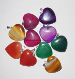 Natural Gemstone Crystal Agate Heart Pendant Jewelry