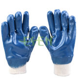 Cotton Jersey Shell Nitrile Coated Safety Work Gloves (D15-Y1)