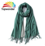 Two Tone Scarf, Made of Pashmina, Acrylic, Polyester, Cotton, Loq MOQ and Many Color Available