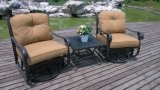 Aluminum Swivel Glide Saving Space Country Club Chat Garden Furniture Set