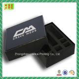 Glossy Black Paper Packaging Box with White Logo