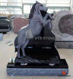 Black Natural Stone Granite Horse Design Headstone Monument