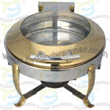 Hook Leg Chafer - Golden Round Stainless Steel 304 Chafing Dish with Glass