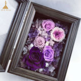 5X7 Inch Folding Wooden Photo Frame with Natural Preserved Roses