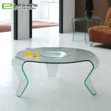 Clear Curved Glass Center Table in 3 Legs